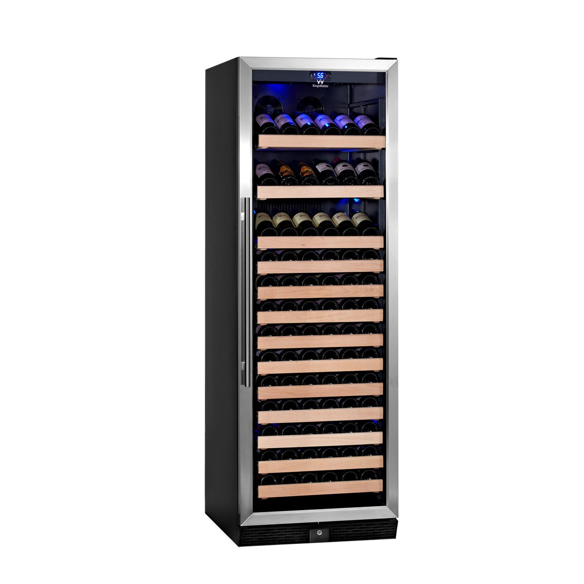 KingsBottle 131 Bottle Single Zone Wine Cooler, Stainless Steel with Glass Door by KingsBottle