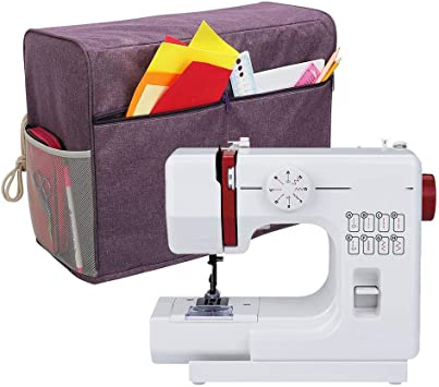 Red Compatible with Brother and Singer Cloth Cover with Pockets for Sewing Machine and Extra Accessories Luxja Dust Cover for Sewing Machine