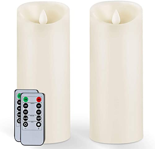 5Plots 9 x 3 Wax Flameless Candles – Amber Yellow Flickering LED Candles – Battery Operated with Remote and Timer – Moving Wick Dancing Flame – Set of 2