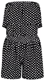 Apparel : Click Selfie New Womens Polka Dot Frill Bandeau Boob Tube Top Shorts Playsuit Jumpsuit S-XL