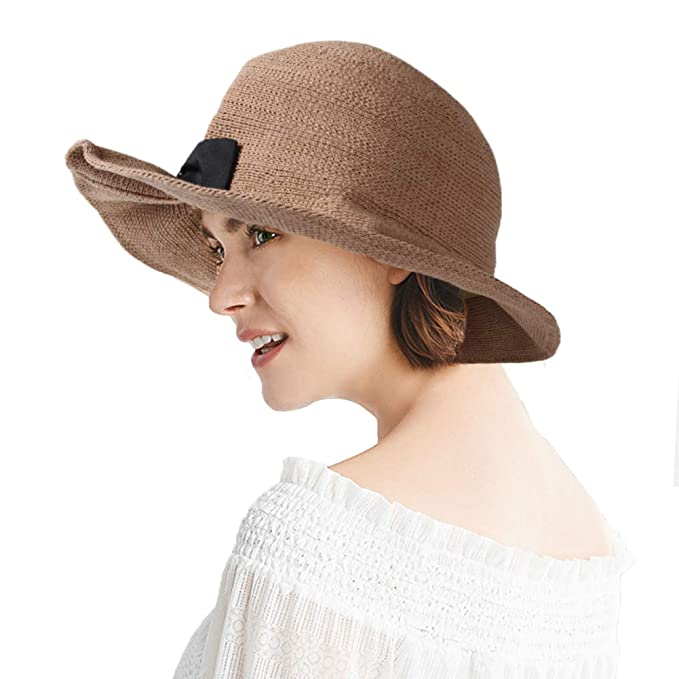 543627fd1bd86 EMWM Sun Hat for Women, Summer Beach Cap UPF 50+ Wide Brim UV Protection  Floppy Straw Hat Foldable ...