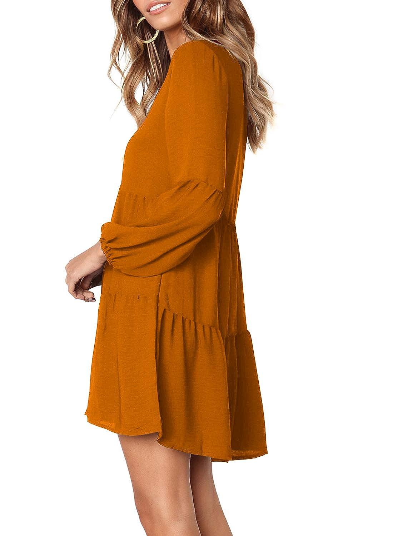 Arolina Womens Long Sleeve Tunic Dress V Neck Casual Loose Fall Flowy Swing Shift Dresses