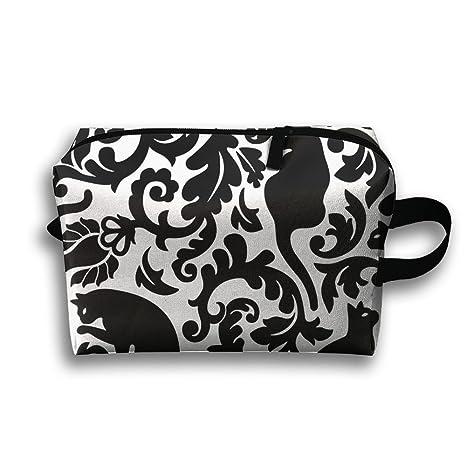 Gatos en el jardín – negro y blanco, bolsa de cosméticos portátil Viaje de Tocador