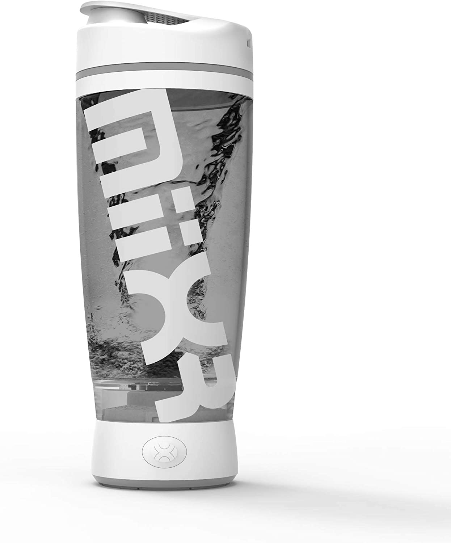 PROMiXX - MiiXR AA Electric Shaker Bottle, Powerful Mixer Bottle for Smooth Shakes & Supplements, Bottle Blender, Shake Bottle Mixer, Protein Shake Blender, Vortex Mixer, 20oz Tumbler (White/Gray)