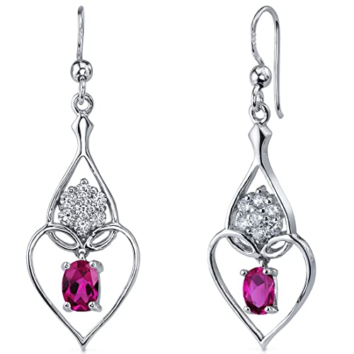 Created Ruby Dangle Earrings Sterling Silver Rhodium Nickel Finish 2.00 Carats Heart Design