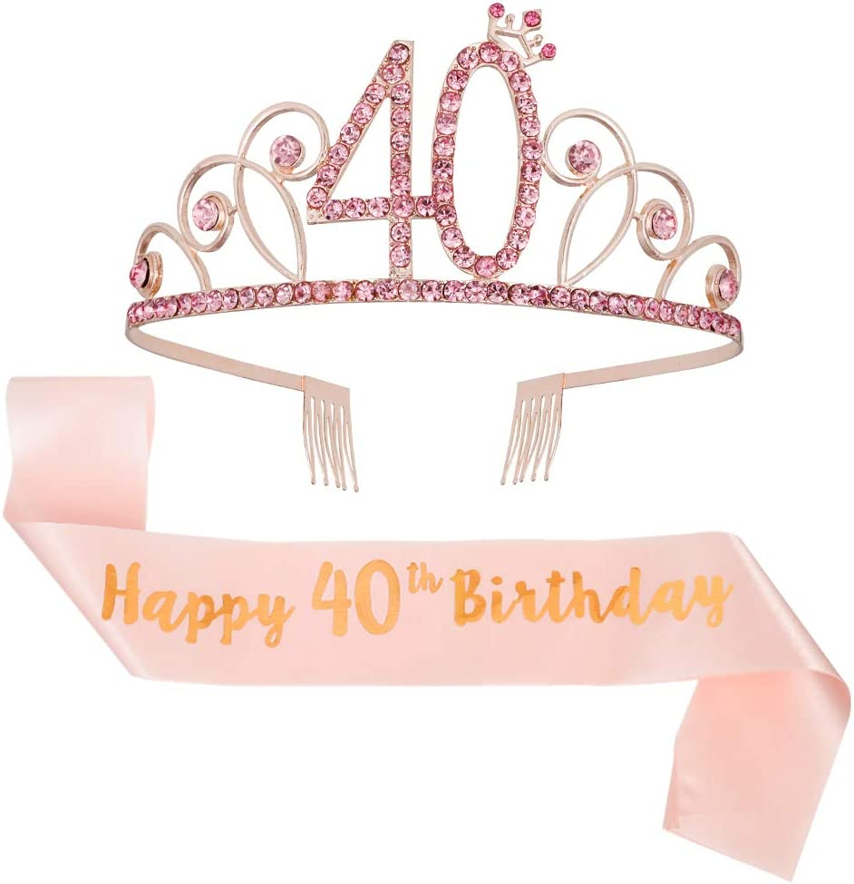 ruggito 40th Birthday Costume Set For Women,Include 40th White Satin Sash,Birthday Crown Tiara and Round Brooch Clip Pin for 40th Birthday Party Decorations