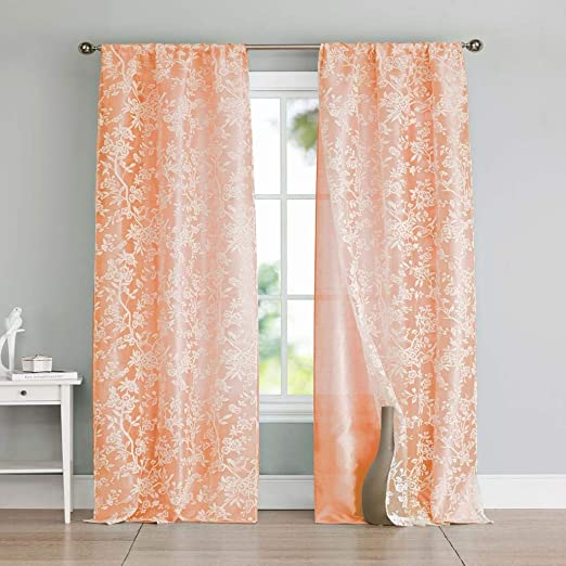 Amazon.com: Kensie - Heidilee Floral Leaf Sheer Burnout Pole Top Window  Curtains for Living Room & Bedroom - Assorted Colors - Set of 2 Panels (37  X 96 Inch - Peach): Home & Kitchen