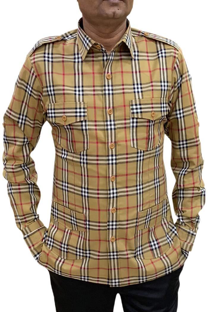 INMONARCH Boy ScoutUniform tan Checks Safari Shirt Mens Hunting Shirts Full Sleeves HS119X-LARGE X-Large Tan by INMONARCH