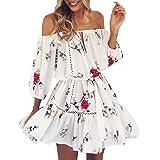 Vestiti,Gonne,Abito,Yanhoo® Mini abito corto da donna con scollo a V, vestito estivo con stampa floreale