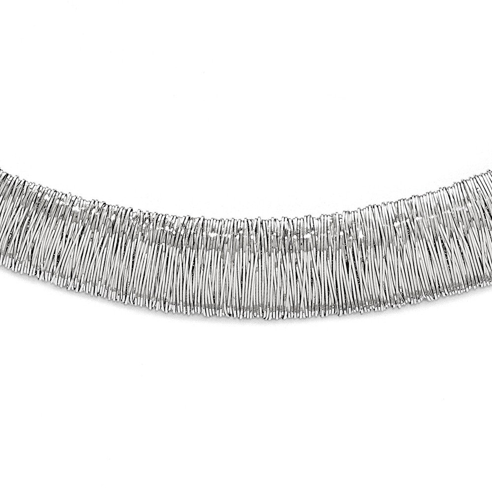 Solid Sterling Silver Polished and Textured Graduated Neck Collar 18'' (13.7mm)