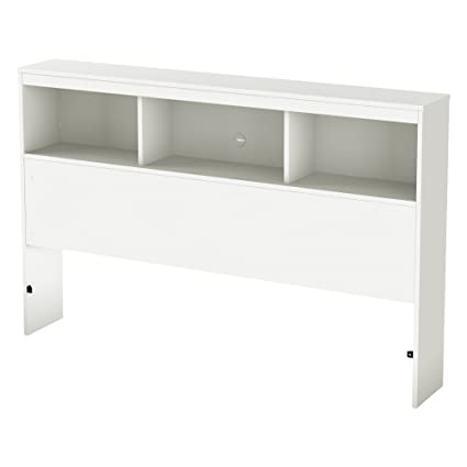South Shore Furniture 54u0027u0027 Karma Bookcase Headboard, Full, Pure White