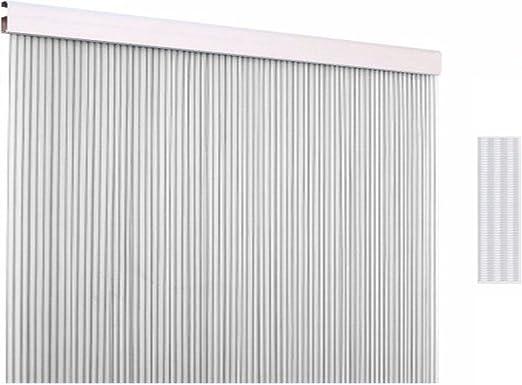 Cortina para puerta exterior protectora contra insectos como moscas y mosquitos - Cortinas panel de cuerdas mosquitera como separador o divisor - Multicolor de 210x90cm (PVC, Transparente): Amazon.es: Jardín