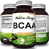 BCAA Pills-Pure Concentrated Essential Amino Acids-Muscle Recovery + Repair-Build Muscle-Best Lean Gains Supplements -Women + Men – 1000 mg Powder Tablets – 3000 mg Dosage – Natures Design