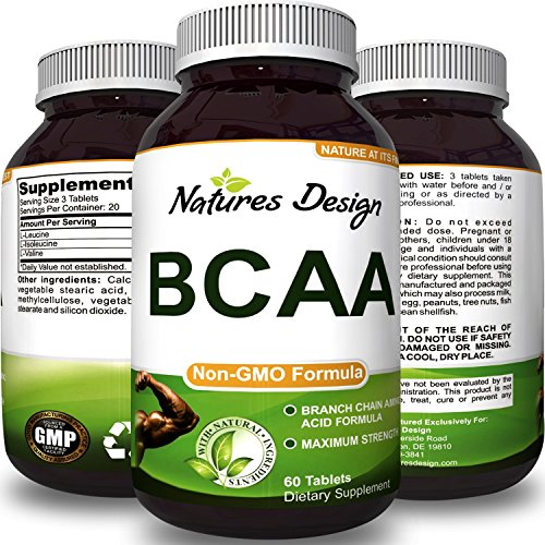 BCAA Pills Pure Concentrated Essential Amino Acids, Muscle Recovery + Repair and Build Muscle - Best Lean Gains Supplements for Women and Men 3000 mg Dosage by Natures Design