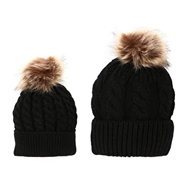 Domybest 2 Pcs Mother   Baby Daughter Son Winter Warm Hat Cap Cotton Knitted  Bobble 70bde1563851