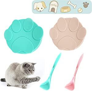ROLLMOSS 2 Pieces Pet Food Can Covers Set, Universal Silicone Can Lids for Pet, Cute Pet Food Can Lids, Leakproof Can Tops Lids for Pet Food, with 2 Dog Cat Food Spoons (Green and Pink)