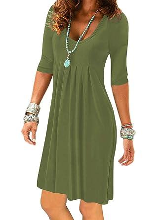 014d4b5c Women's Army Green Half Sleeve Empire Waist Plain Pleated Loose Swing  Casual Dresses Knee Length