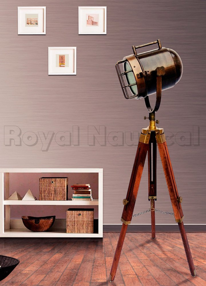 Nautical Wooden Spotlight Searchlight Tripod Antique Lamp Shaded Lighting Stand Home Decor