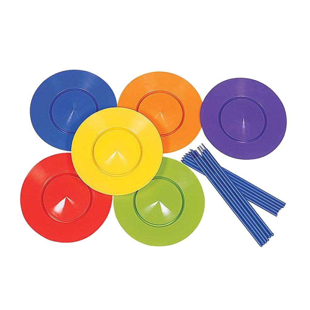 Sharplace SET de Jonglerie 6PCS Assiette Tournante avec 12PCS Baguette En Plastique Multicolore