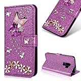 Bling Diamond Wallet Case for Samsung Galaxy S9 Plus [Not for Samsung Galaxy S9],Cistor Luxury Glitter 3D Handmade Butterfly Flowers Crystal Flip Cover Soft PU Leather Stand Feature Case with Card Slot Magnetic Closure,Purple