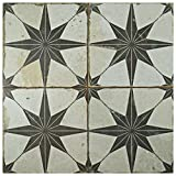 "SomerTile FPESTRN Reyes Astre Ceramic Floor and Wall Tile, 17.625"" x 17.625"", Cream/Beige/Black"