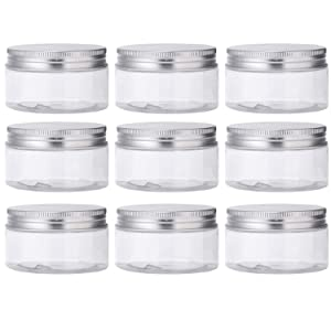 RONRONS 10 Pieces Clear Plastic Jars with Lids Round Empty Cosmetic Box Slime Containers, Wide-Mouth Refillable Storage Containers for Cosmetics, Lotion, Makeup, Food Storage, 50ml/1.69oz
