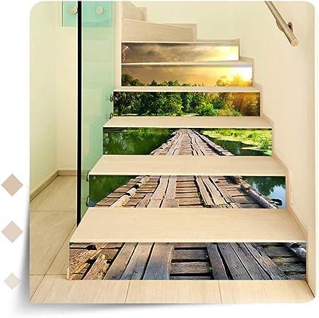 SERFGTFH Pegatinas para Escaleras Escalera 3D Efecto Visual Vinilo Removible Vinilos Adhesivos De Arte Moderno Paisaje Fotografía Hogar Moda Decoraciones: Amazon.es: Hogar