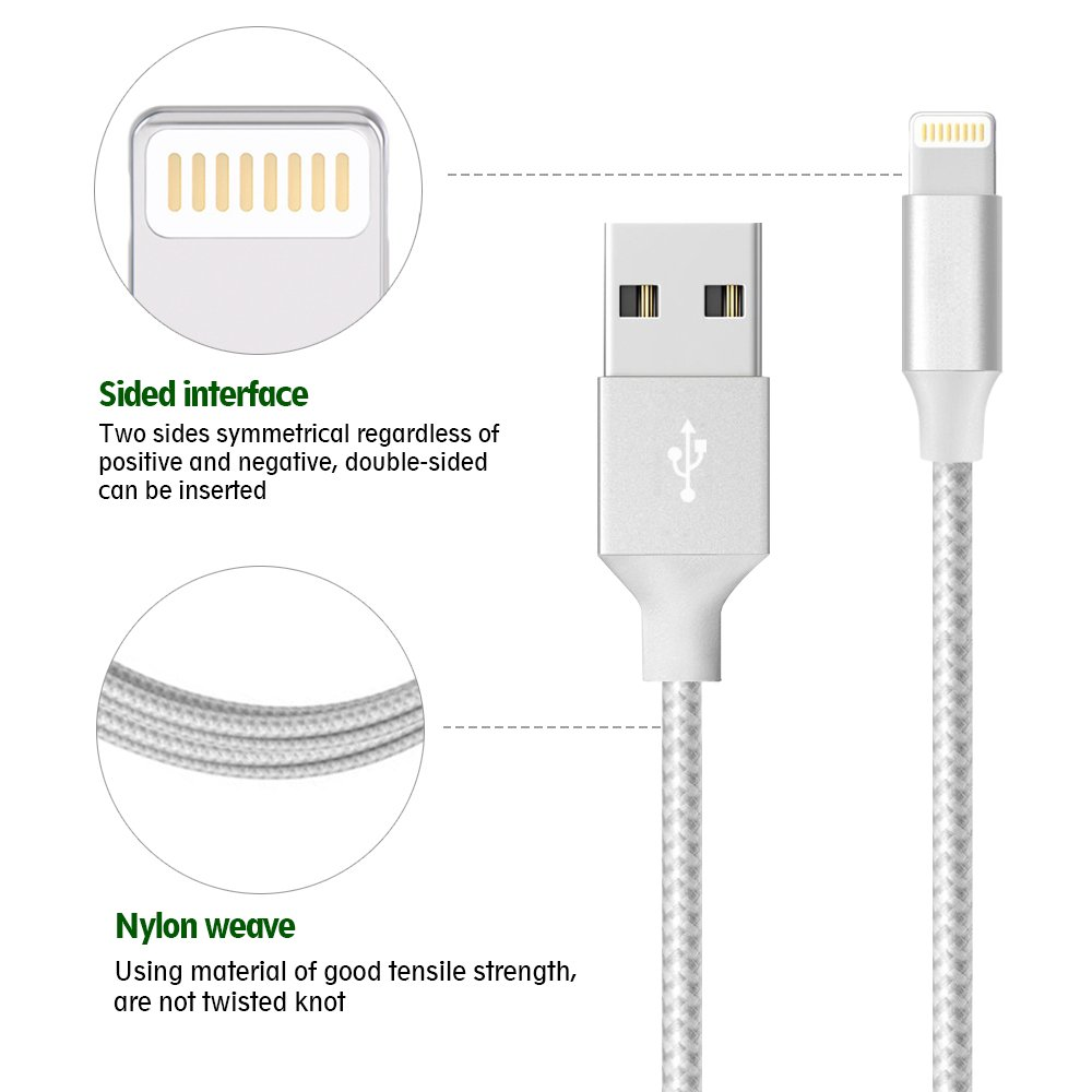 Lightning Cable,Airsspu Charger Cables 5Pack 3FT 3FT 6FT 6FT 10FT to USB Syncing Data and Nylon Braided Cord Charger for iPhone X/8/8Plus/7/7Plus/6/6Plus/6s/6sPlus/5/5s/5c/SE and more (Sliver&Gray) by Airsspu (Image #3)