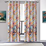Anady Top Watercolor Curtains Soft Cotton Drapes 2 Panel Bright Flower Decro Curtains Livingroom Grommet 100 inch Drapes(Customized Available)