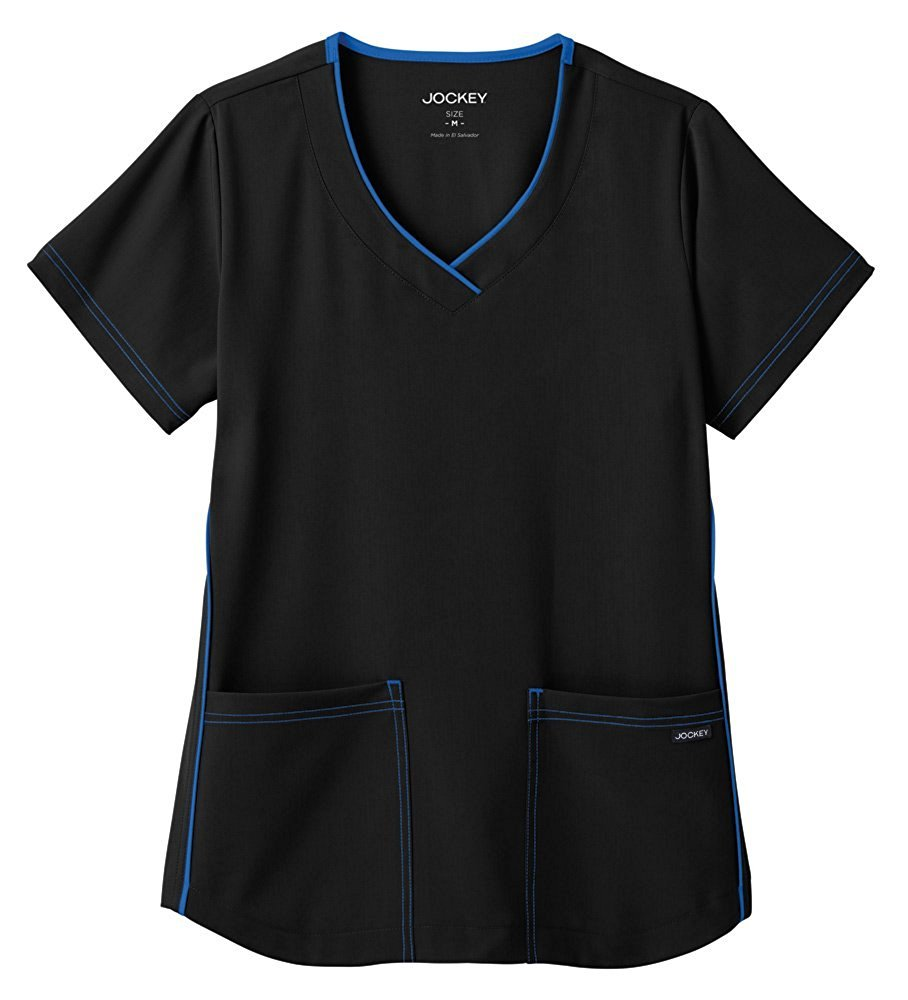 Classic Fit Collection By Jockey Women's Sporty V-Neck Scrub Top X-Large Black