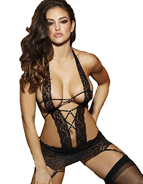 c3a8ac1ed82 Shirley of Hollywood Halterneck Lace Chemise