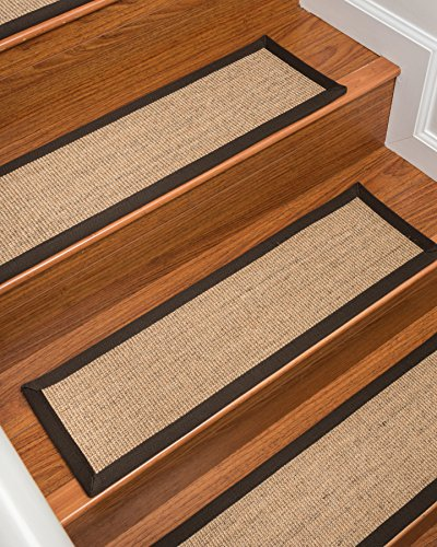 Natural Area Rugs 100% Natural Fiber Montreal, Sisal Wheat, Handmade Stair Treads Carpet Set of 4 (9x29) Fudge Border