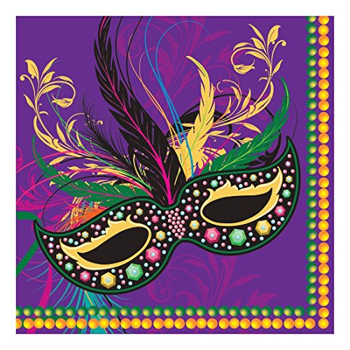 Creative Converting 662196 48 Count Paper Lunch Napkins, Mardi Gras (Mardi Gras Luncheon Napkins)