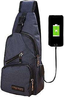 BigBig Home Canvas Sling Bag Backpack with USB Charging Port, Chest Bag Crossbody Pack Rucksack Lightweight for Men Women Boys Girls Outdoor Sports