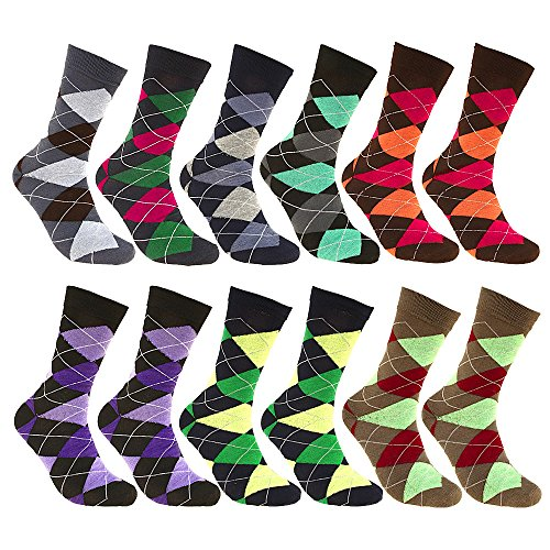 Falari Men Cotton Dress Socks 12-Pack or 6-Pack