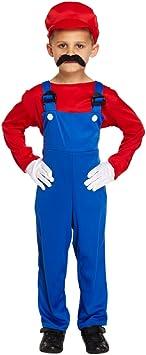 Disfraz para niños de Mario rojo trabajador talla L edades 10-12 ...