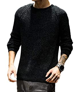 Gnao Mens Slim Fit Long Sleeve Round Neck Pullover Sweater
