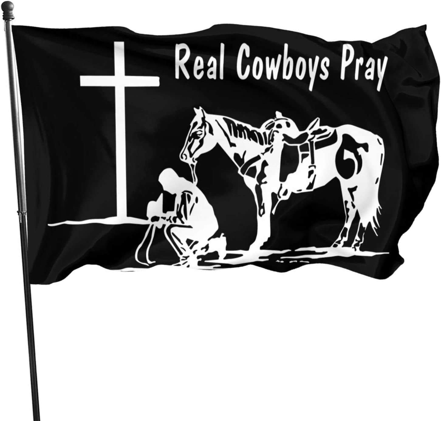 HOCLOCE Christian Praying Cowboy Crosses Flag 3x5 FT Banner, Yard Flags 3 X 5 in Indoor&Outdoor Decorative Home Fall Flags Holiday Decor