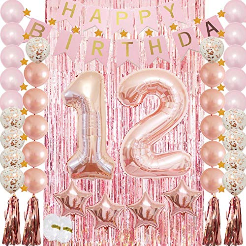 HuBalon 12th Birthday Decorations Party Supplies Rose Gold for Girls-Confetti Latex Balloon,Foil Mylar Star,Tassel Garland,Tinsel Foil Fringe Curtains,Happy Birthday Banner as Photo Props,Gift (Birthday Party For 12 Yr Old Girl)
