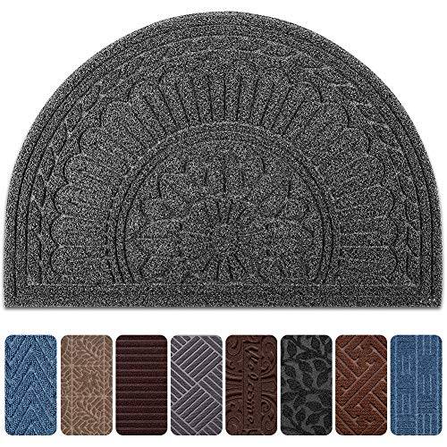 (Mibao Half Round Entrance Door Mat, 24 x 36 inch Winter Durable Large Heavy Duty Front Outdoor Rug, Non-Slip Welcome Doormat for Entry, Patio )