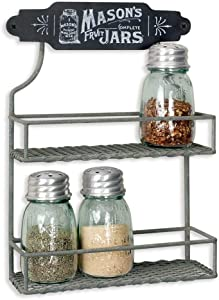 Colonial Tin Works Wire Mason Jar Two Tier Hanging Spice Rack Kitchen Supplies, 8''W x 3''D x 11½''H, Gray