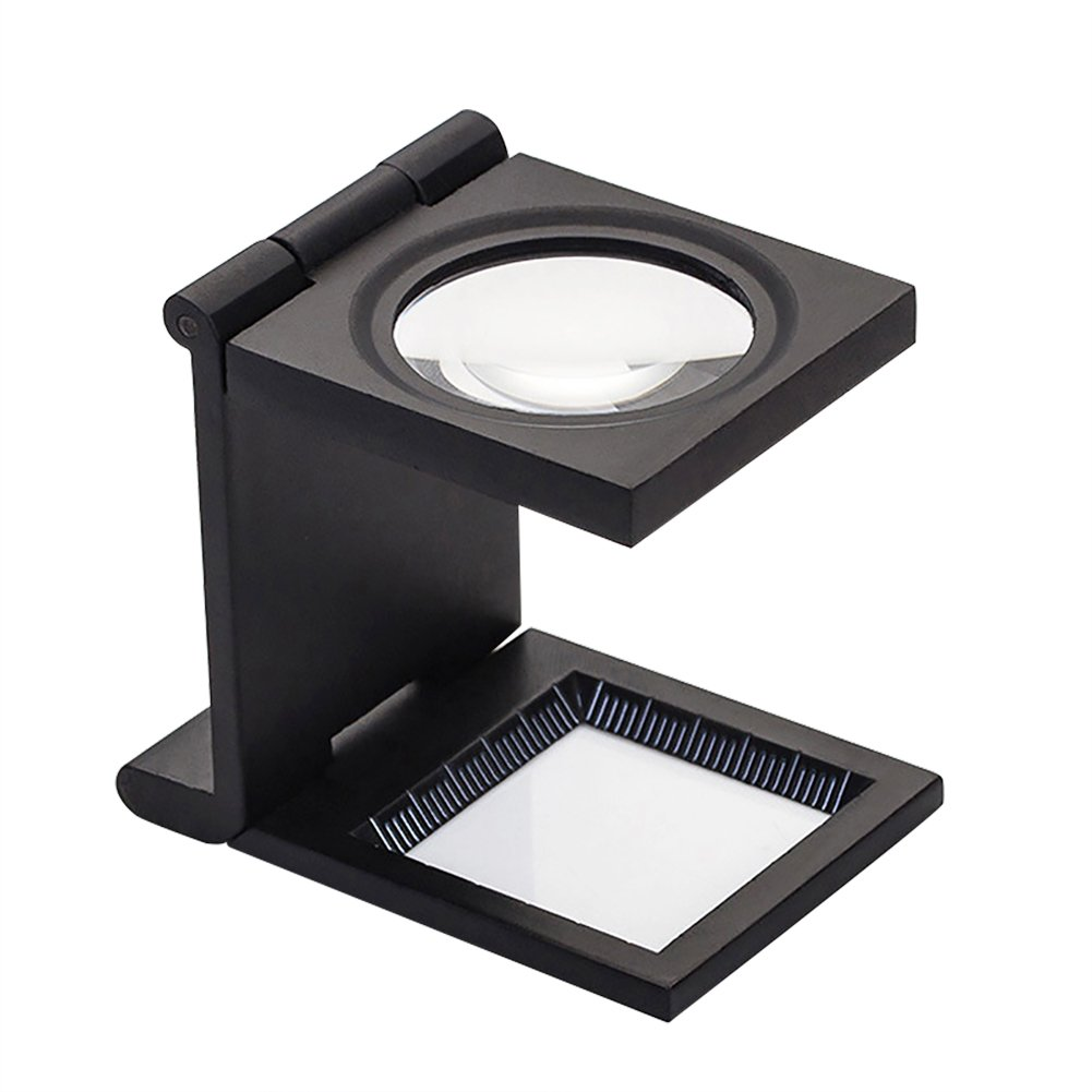 Magnifier Foldable Mini Three-Folding Magnifying Glass with 10X Loupe Lens Graduated Scale for Textile Optical Jewelry Tool Reading Crafts Seniors Reading Page Hobbies Visual Impairment