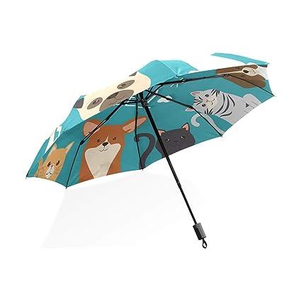 ISAOA Paraguas de Viaje automático Compacto Plegable Paraguas Perros y Gatos Mascotas Resistente al Viento Ultra