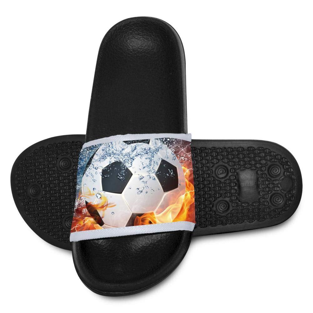 Qujki Kids Soccer Ball On Fire Water Beach Sandal Non-Slip Bath Slipper Black