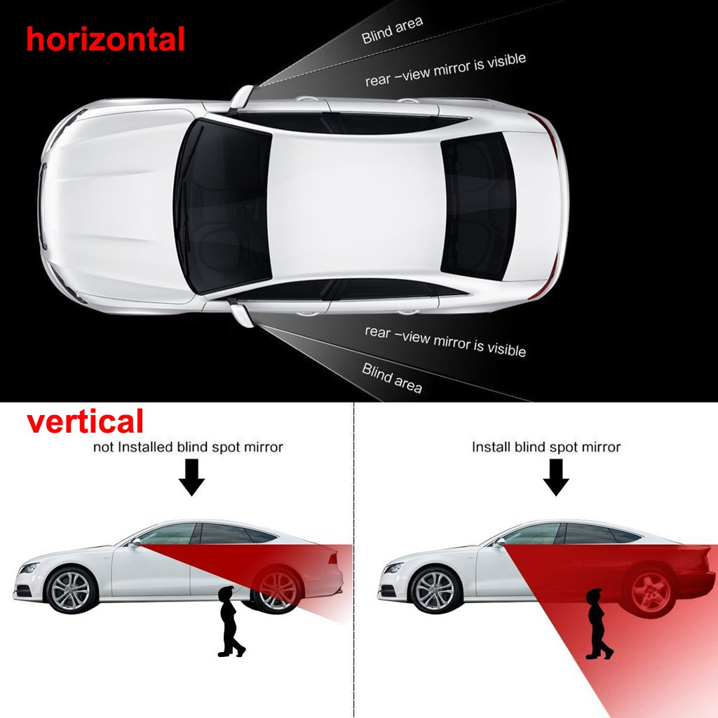 EFORCAR Blind Spot Mirrors Rear View Blind Spot Mirror Adjustable,Auxiliary Stick-on Wide Angle Auto Spot Blind Mirrors 2 Pack