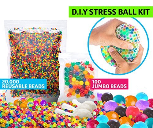 - SENSORY WATER BEADS PACK + STRESS BALL FOR KIDS [20,000 Small/100 Large/6 Balloons] Squishy Water Gel Beads Pack for Sensory Kids - Best Tactile Sensory Toys for Kids with Autism ADHD & Sensory Needs
