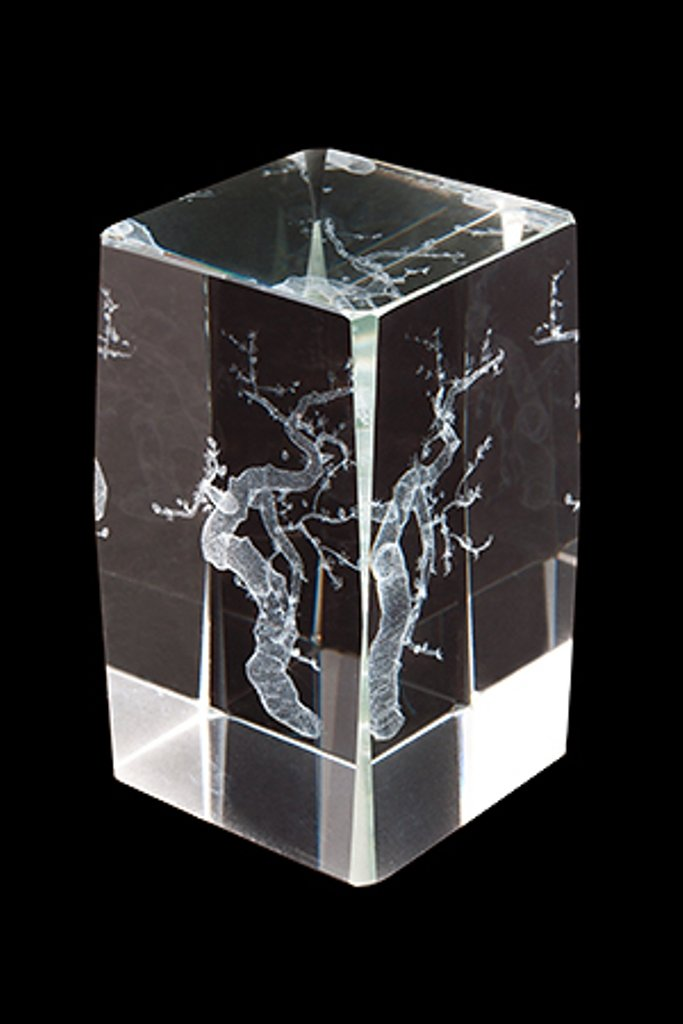 Feng Shui 80 mm New Crystal Cube with Sakura with Gift Box 21488