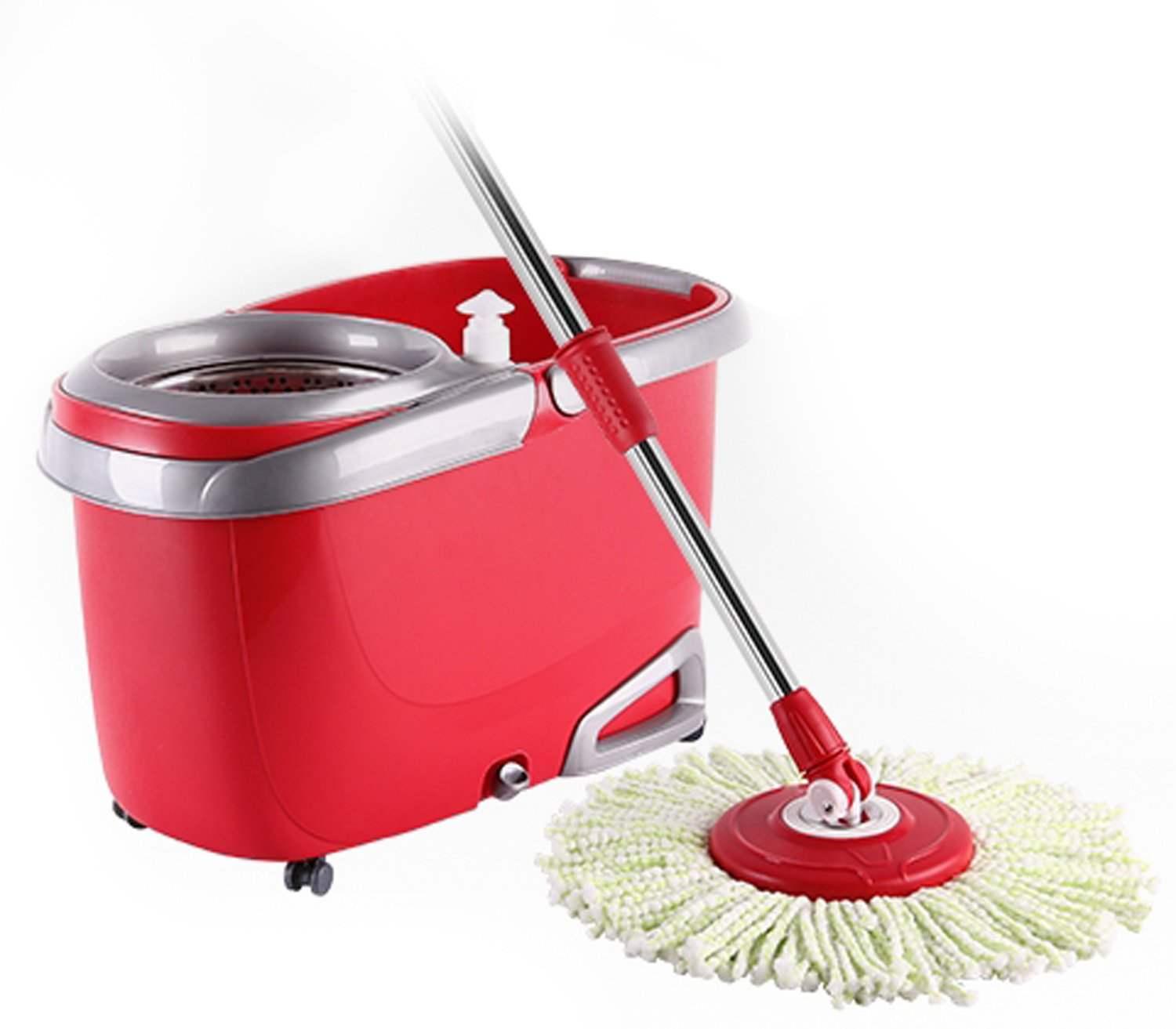Twist and shout mop review - Amazon Com Arevo Whirlwind Wet Spin Mop And Rolling Bucket For Floor Cleaning Easy Wring System Soap Dispenser Washable Microfiber Cloth Broom And