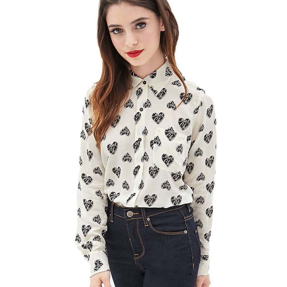 0fd3384ab3a Mlotus Ladies Retro Heart Print Chiffon Blouse Long Sleeve Button Down  Shirts at Amazon Women s Clothing store