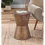 Modern Copper Bronze Drum Table | Pierced Hammered Metal End Round